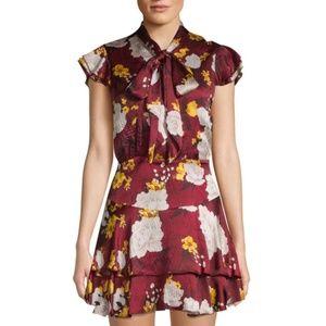 ALICE+OLIVIA floral print tie neck dress